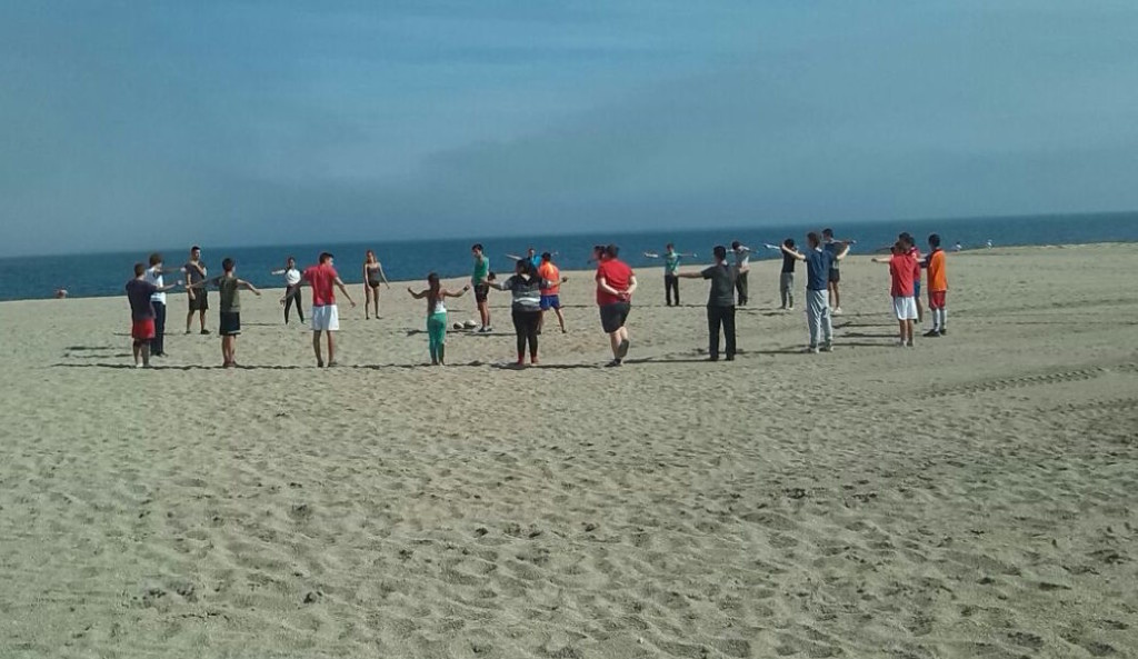 CR Rugby entrenando en la playa